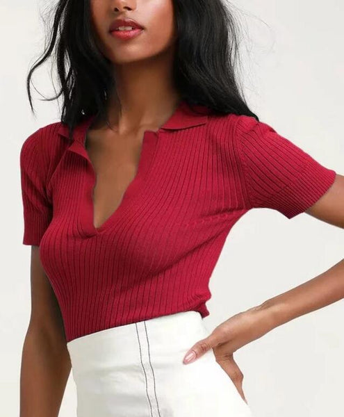 60s retro knitted tennis polo shirt red - Ma Penderie Vintage