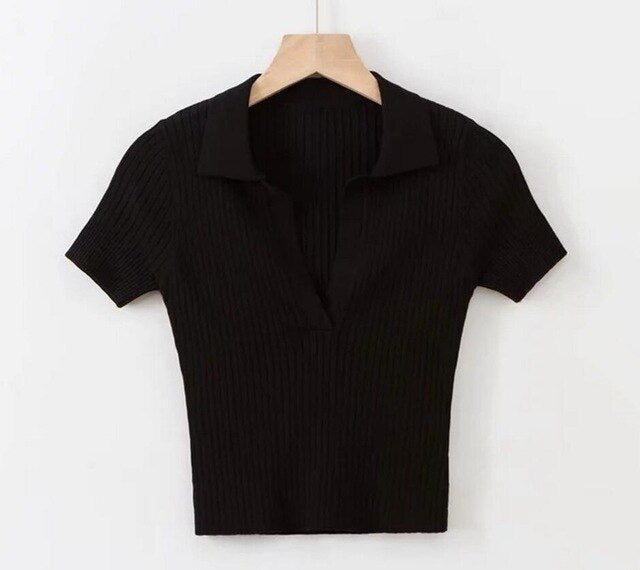 60s Retro Knitted Tennis Polo Shirt Black - Ma Penderie Vintage