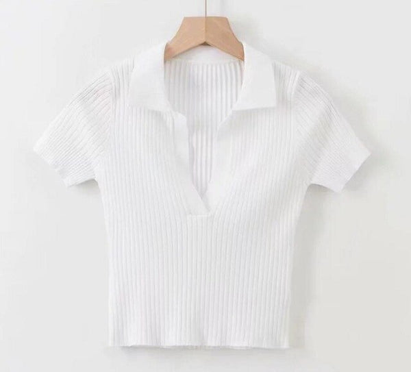 60s Retro Knitted Tennis Polo Shirt - White Ma Penderie Vintage