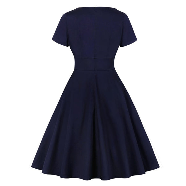 50s Navy Retro Flared Dress - Ma Penderie Vintage