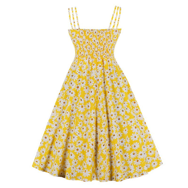 50s Yellow Daisy Picnic Summer Dress - Ma Penderie Vintage