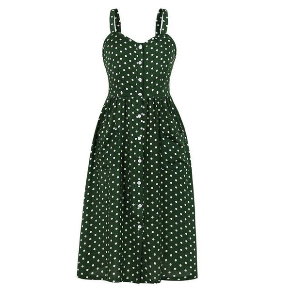 60s Vintage Swing Dress A Pois Rock A Billy Green - Ma Penderie Vintage