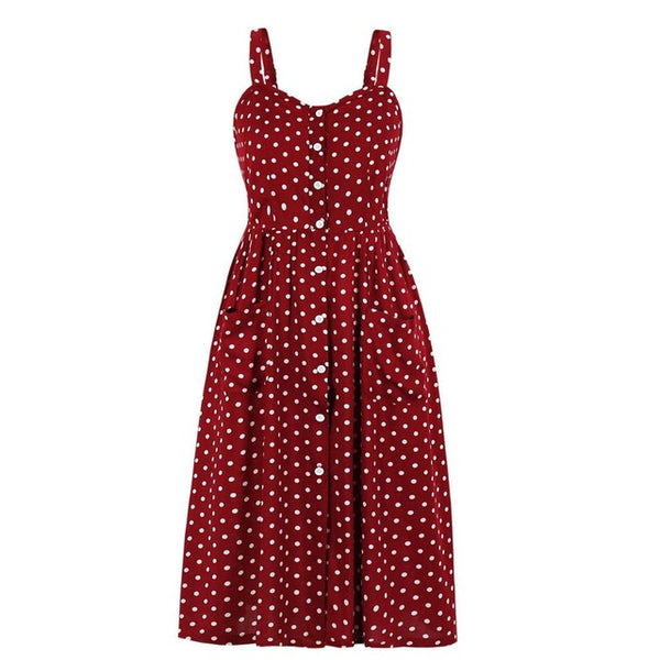 60s Vintage Swing Dress A Pois Rock A Billy Red - Ma Penderie Vintage