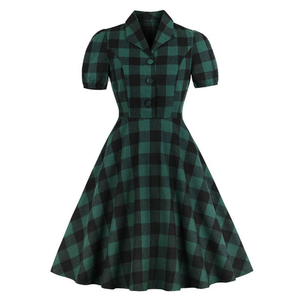 50s Vintage Plus Size Flared Dress Green - Ma Penderie Vintage