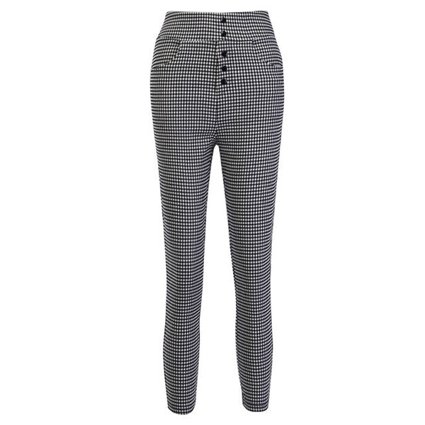 Sixties High Waist Retro Gingham Black and White Pants - Ma Penderie Vintage