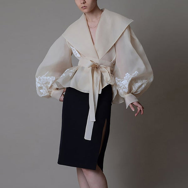 50s Glamor Shawl Collar Blouse New Look Beige - Ma Penderie Vintage