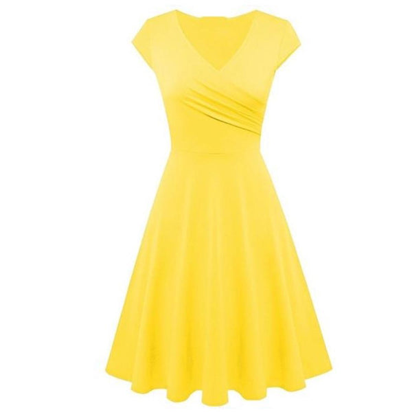 60s Retro V-neck Flared Dress Yellow - Ma Penderie Vintage