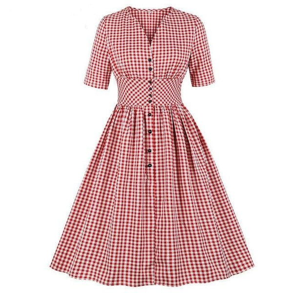 50s Gingham Rock A Billy Flare Dress Red - Ma Penderie Vintage