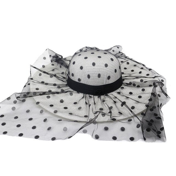 50s Vintage Glamor Hat With White Coconut Peas - Ma Penderie Vintage