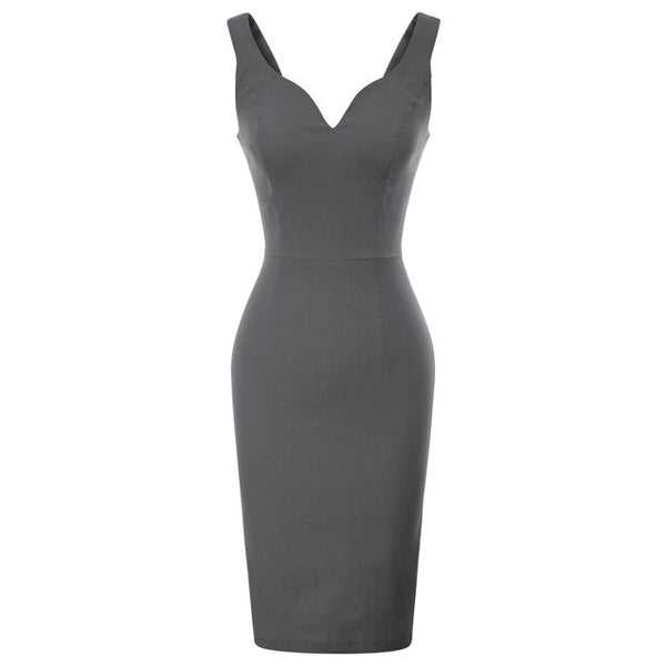 50s Gray Pin Up Cocktail Pencil Dress - Ma Penderie Vintage