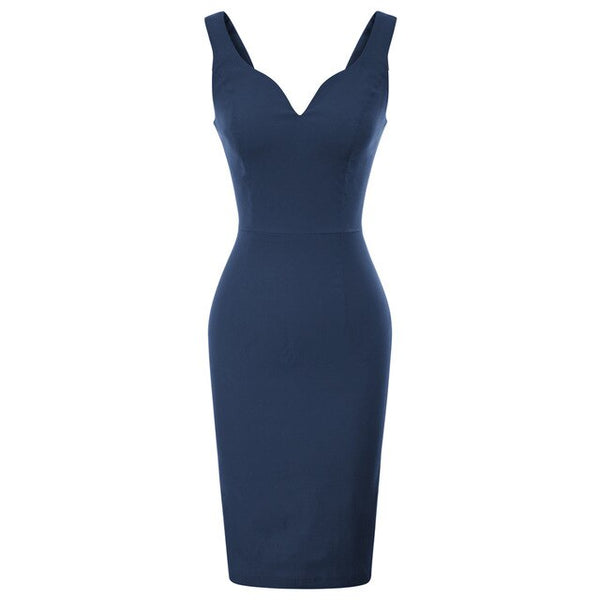 50s Navy Blue Pin Up Cocktail Pencil Dress - Ma Penderie Vintage