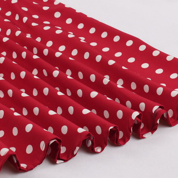50s Flared Polka Dot Dress Lucille Ball Pin Up Red - Ma Penderie Vintage