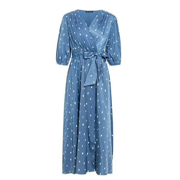 40s Vintage Retro Wrap Dress Blue Polka Dots - Ma Penderie Vintage