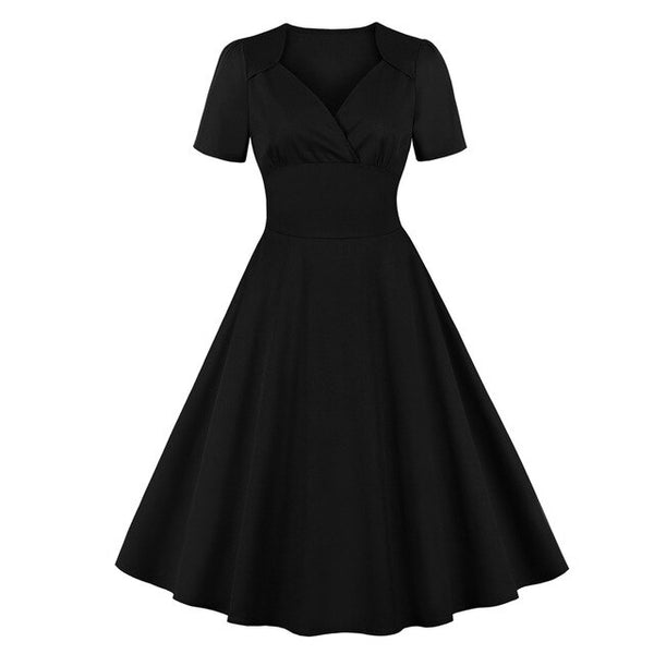 50s Classic Mad Men Flared Dress Black - Ma Penderie Vintage