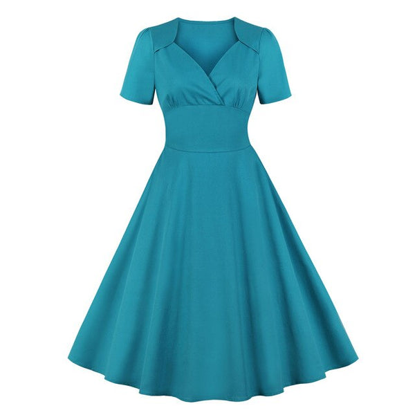 50s Classic Mad Men Flare Dress Cyan - Ma Penderie Vintage