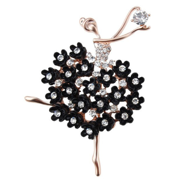Années 50 Broche Figurative Strass Pin Up Ballerine - Ma Penderie Vintage