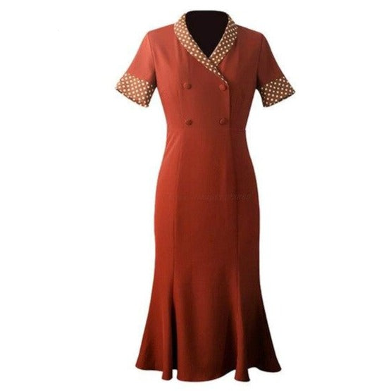 40s Double Breasted Midi Dress