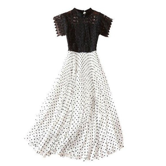 40s Glamorous Lace Midi Dress Black White - Ma Penderie Vintage