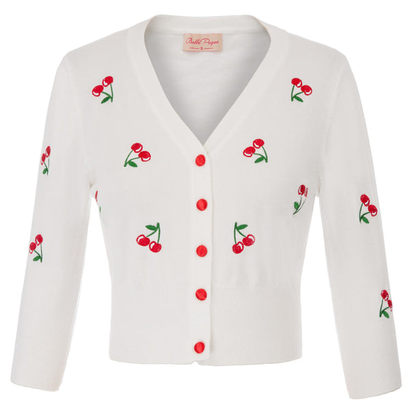 50s Retro Pin Up Cardigan Embroidery Cherries White - Ma Penderie Vintage