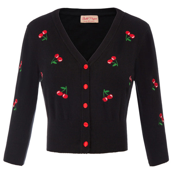 50s Retro Pin Up Cardigan Embroidery Cherries Black - Ma Penderie Vintage