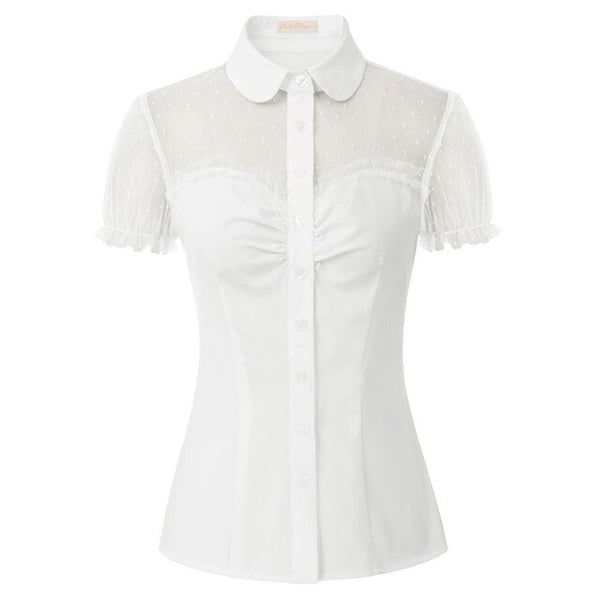 50s Retro Pin Up Heart Buttoned Blouse