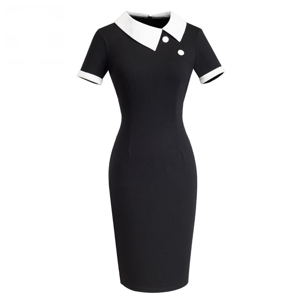 50s Pin Up Bettie Page Black and White Office Dress - Ma Penderie Vintage