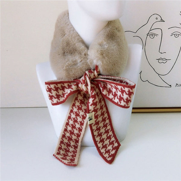 40s Retro Scarf Collar Red / Beige Faux Fur - Ma Penderie Vintage