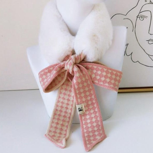 40s Retro Scarf Collar Pink / Ivory Faux Fur - Ma Penderie Vintage