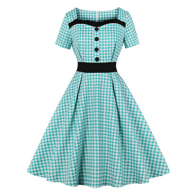 60s Gingham Print Dress Rock A Billy Blue - Ma Penderie Vintage
