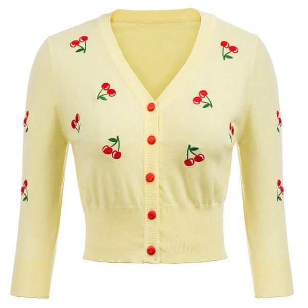 50s Retro Pin Up Cardigan Embroidery Cherries