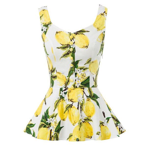 50s Pin Up Summer Peplum Tropical Print Lemons - Ma Penderie Vintage