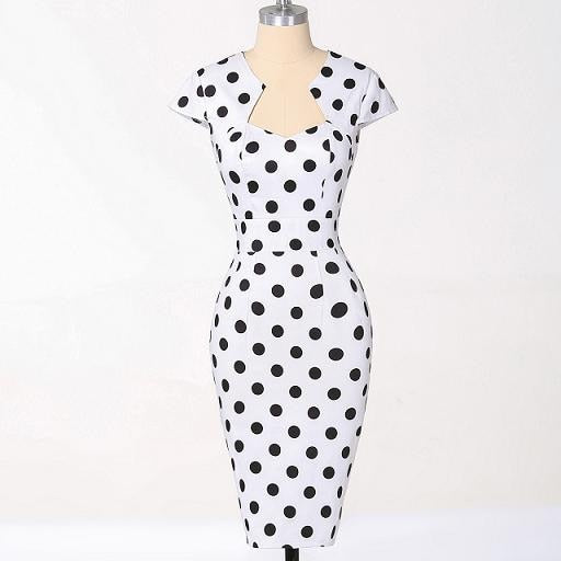 50s Pin Up Sheath Dress Printed With White Polka Dots Ma Penderie Vintage