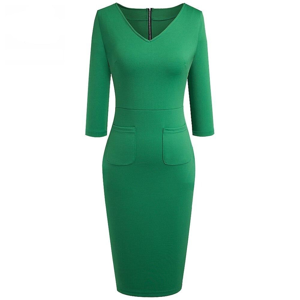50s Sheath Dress Pin Up Style Bettie Page Green- Ma Penderie Vintage