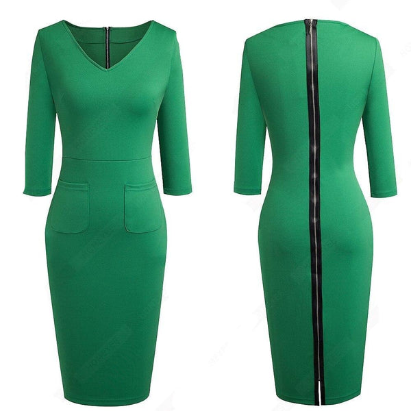 50s Sheath Dress Pin Up Style Bettie Page Green - Ma Penderie Vintage
