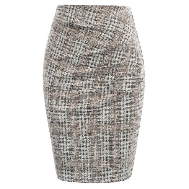 50s Ruched Pencil Skirt Pin Up Gray Check - Ma Penderie Vintage