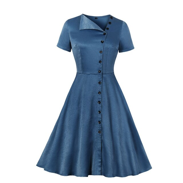 50s Flared Asymmetrical Buttoned Retro Dress Blue - Ma Penderie Vintage