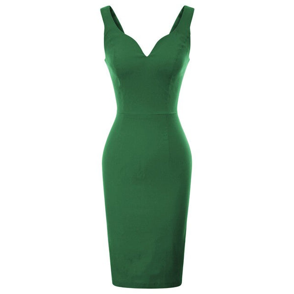 50s Green Pin Up Cocktail Pencil Dress - Ma Penderie Vintage