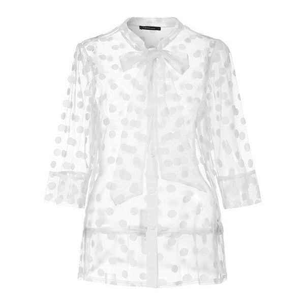 50s Pin Up Blouse With White Dots - Ma Penderie Vintage