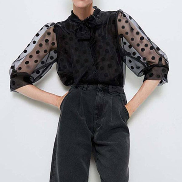 50s Pin Up Polka Dot Blouse - Ma Penderie Vintage