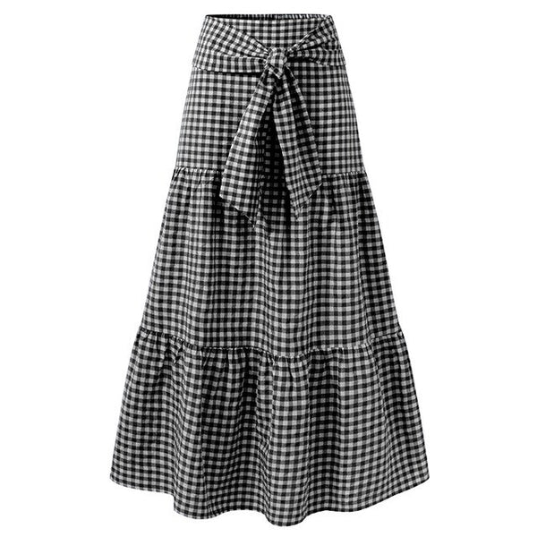 70s Long Gingham Bohemian Gypsy Skirt Black - Ma Penderie Vintage