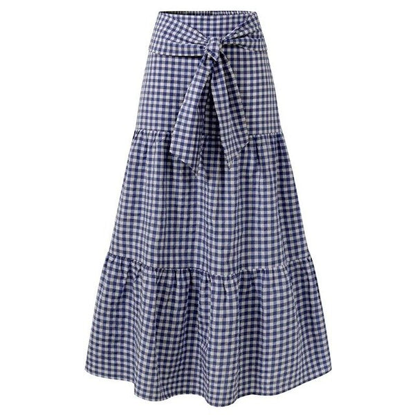 70s Long Gingham Bohemian Gypsy Skirt Blue - Ma Penderie Vintage