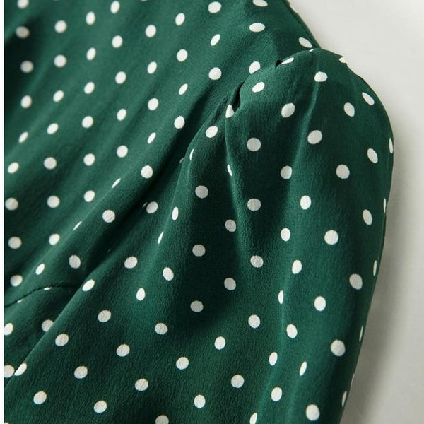 40s Day Dress With Polka Dots And Beads Green - Ma Penderie Vintage