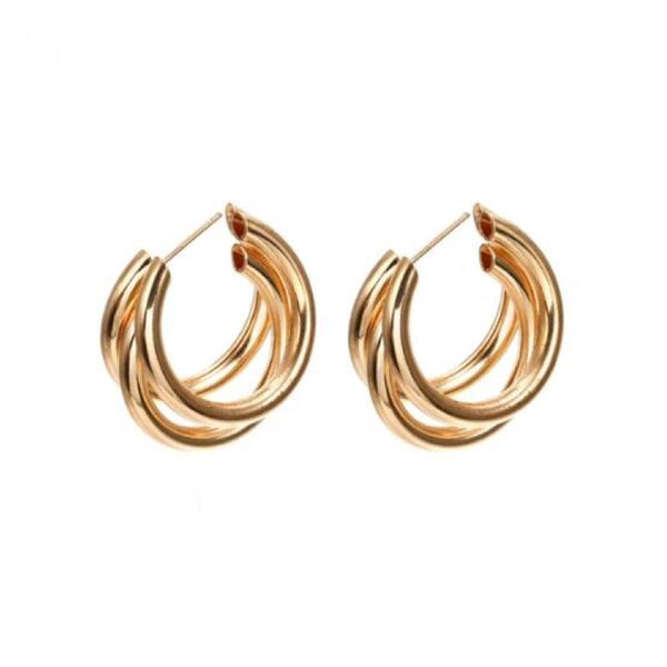 60s Triple Vintage Gold Earrings - Ma Penderie Vintage