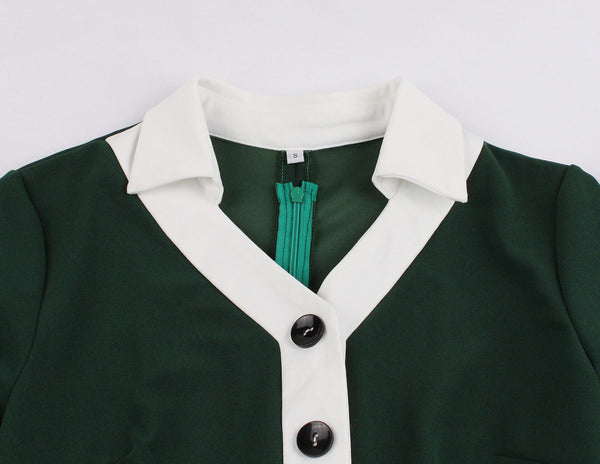 50s Pin Up Cocktail Dress Green Polo Collar - Ma Penderie Vintage