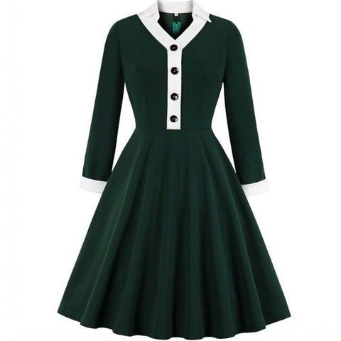Années 50 Robe Cocktail Pin Up Col Polo Vert - Ma Penderie Vintage