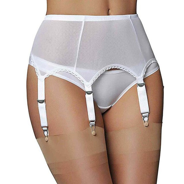 50s large size pin-up garter belt panties white - Ma Penderie Vintage