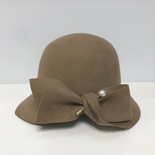 30s Glamor Gatsby Taupe Hat - Ma Penderie Vintage