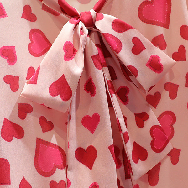 70s Pink Glamor Retro Hearts Print Blouse - Ma Penderie Vintage