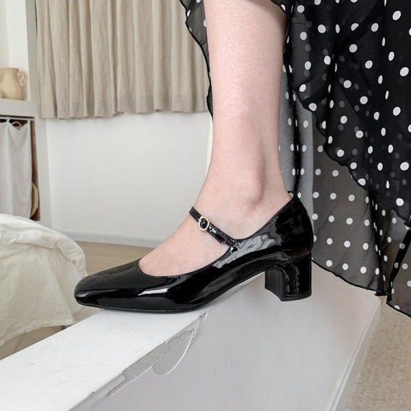 60s Retro Leather Shoes Mary Jane Black - Ma Penderie Vintage