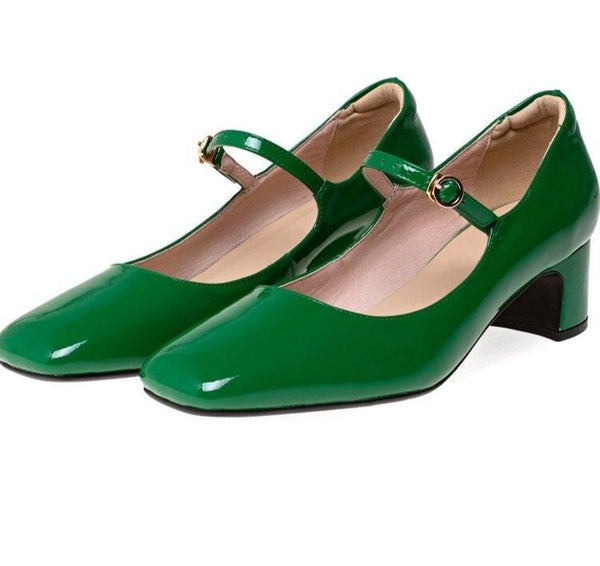 60s Retro Leather Shoes Mary Jane Green - Ma Penderie Vintage